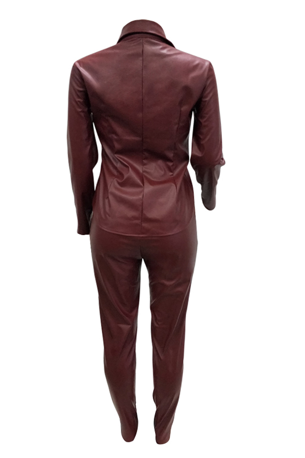 Lovely Casual Buttons Decorative Wine Red PU Two-piece Pants Set