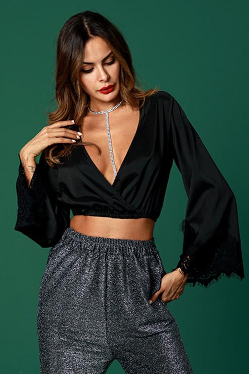 Lovely Fashion Deep V Flare Sleeves Black Shirts