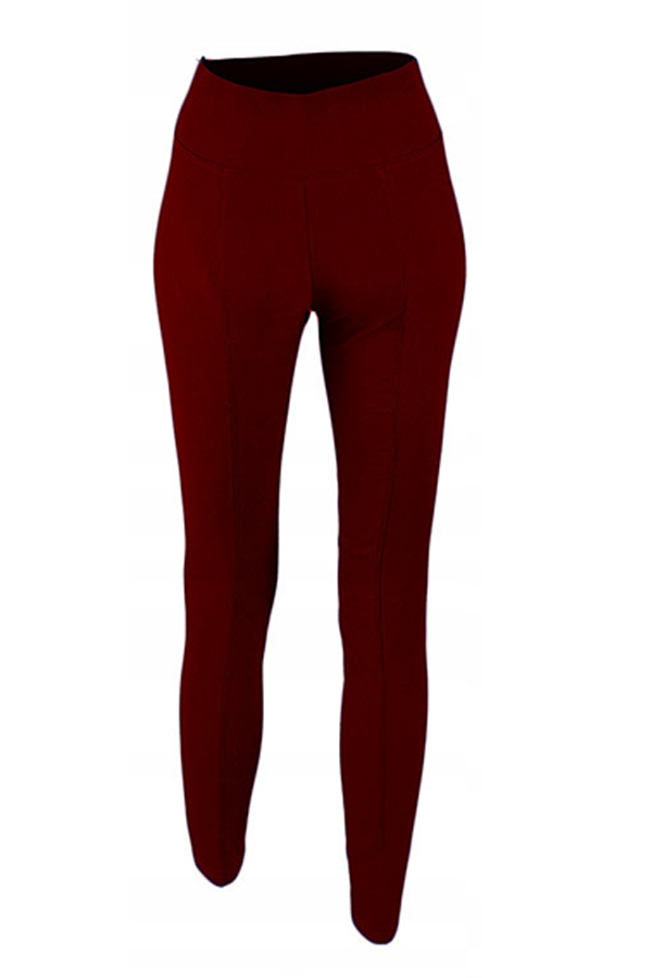 Lovely Fashion Buttons Wine Red Knitting Skinny Pa