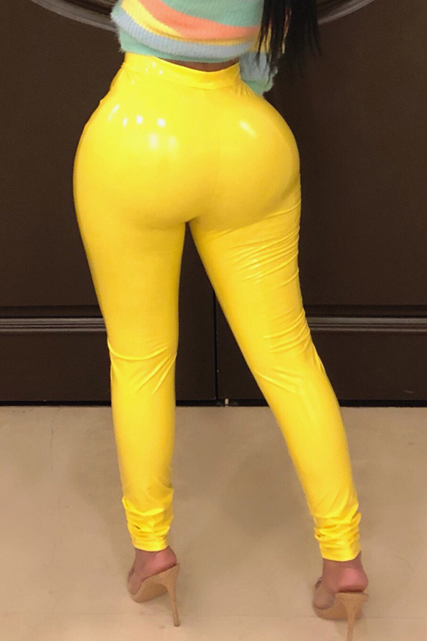 Lovely Fashion Skinny Yellow PU Pants