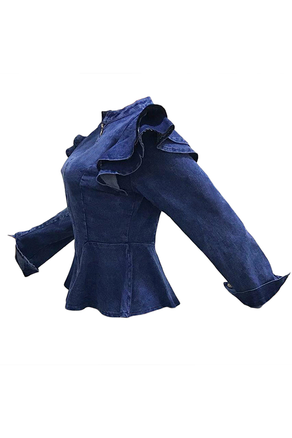 Precioso Falbala Casual Diseño Bebé Azul Denim Coat