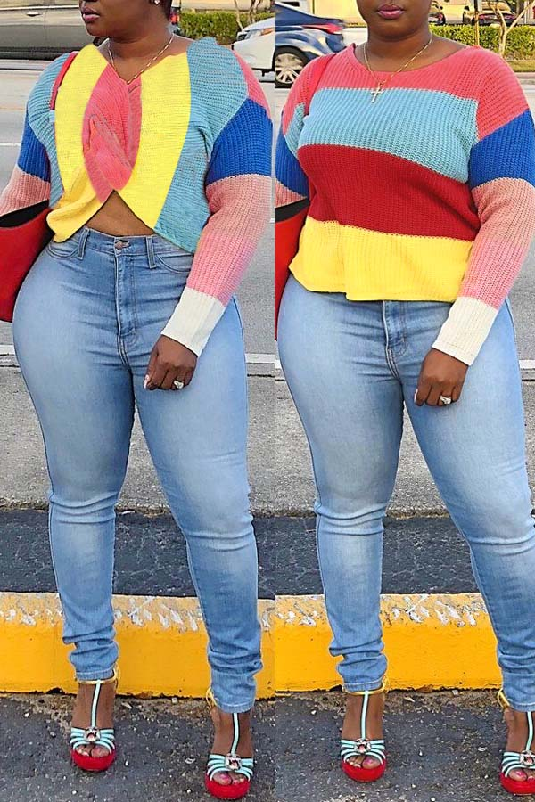 Lovely Personality Multicolor Patchwork Blending Sweaters
