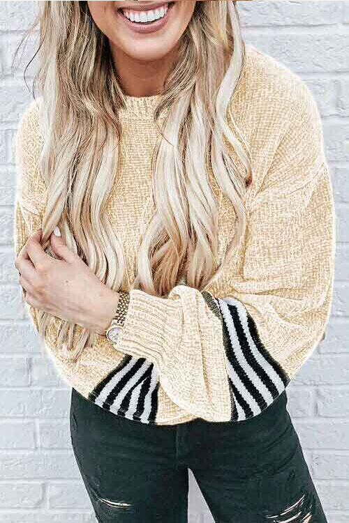 Lovely Chic Striped Patchwork Apricot Velvet Sweaters