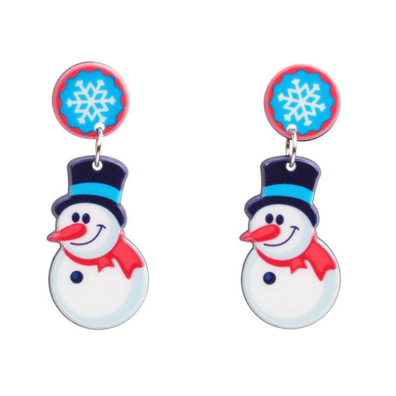 Lovely Fashion Christmas Snowman White Earring