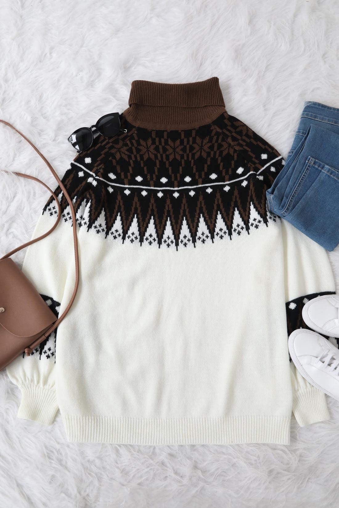 Lovely Geometry White Sweater Mini Dress