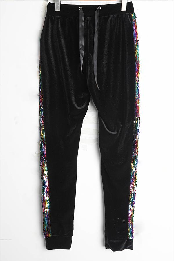 Precioso Conjunto De Pantalones De Dos Piezas De Lentejuelas Negras Decorativas Ocasionales