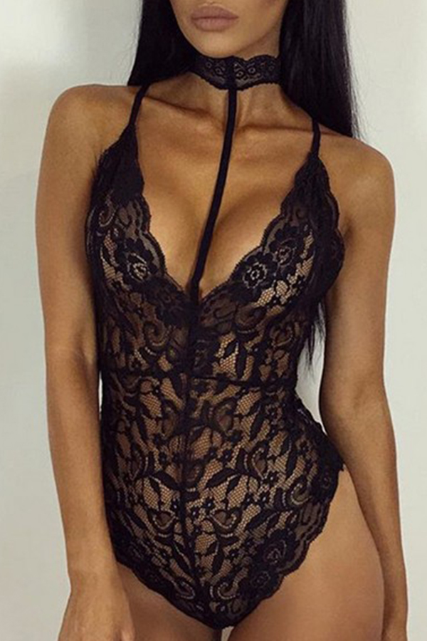 Lovely Sexy Black Lace Teddies
