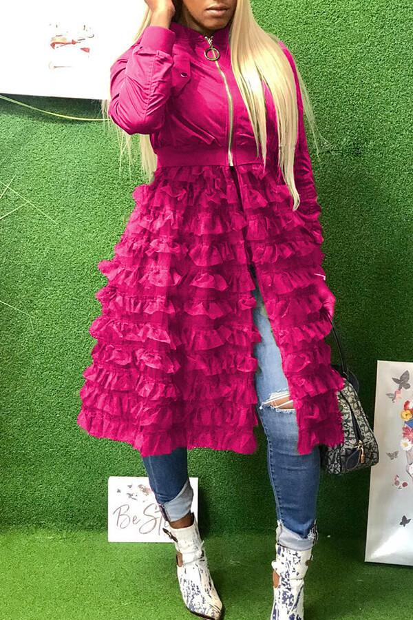 Cremallera Hermosa Moda Rosa Roja Abrigo Largo