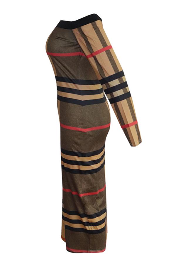 Vestido A Media Pierna Con Estampado De Rayas Precioso Estampado Marrón