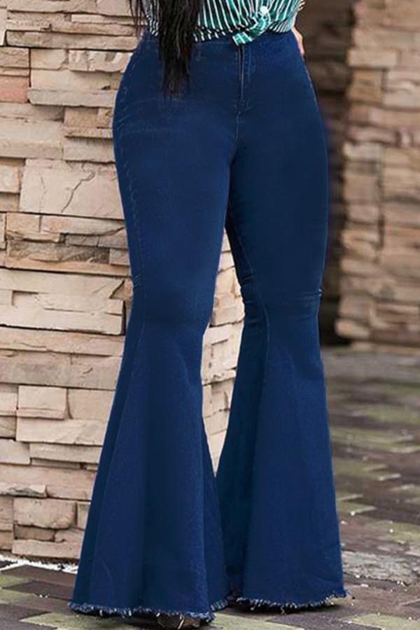 Lovely Trendy High Waist Flared Deep Blue Denim Zipped Jeans