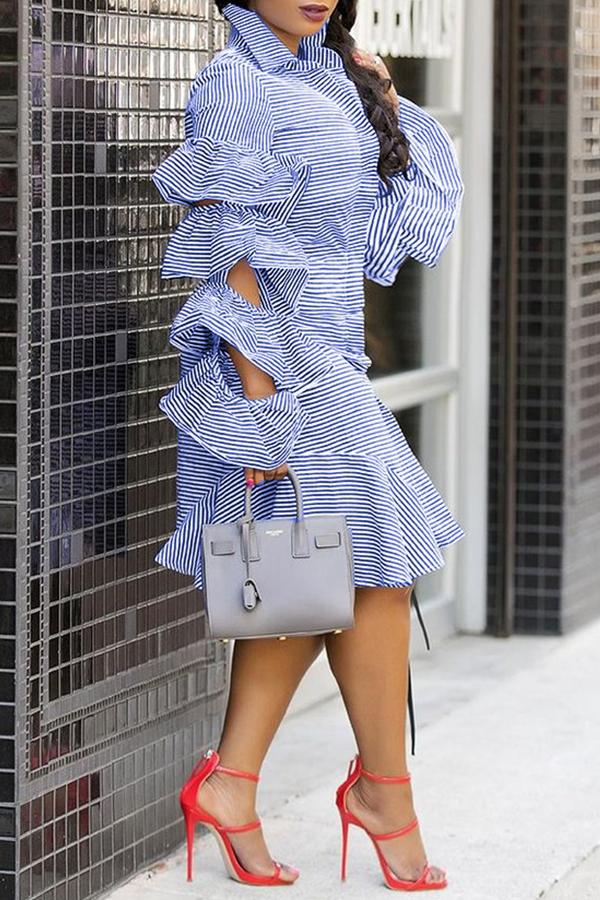 Lovely Chic Striped Flounce Design Baby Blue Knee Length  Dress