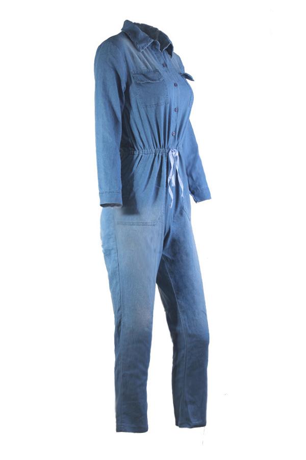 Lovely Euramerican Turndown Collar Blue Denim One-piece Jumpsuits
