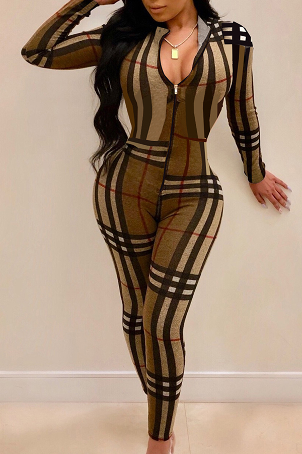 Lovely Sexy Printed Coffee One-piece Jumpsuit