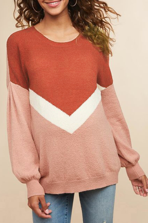 Lovely Casual Long Sleeves Patchwork Brick Red Sweaters