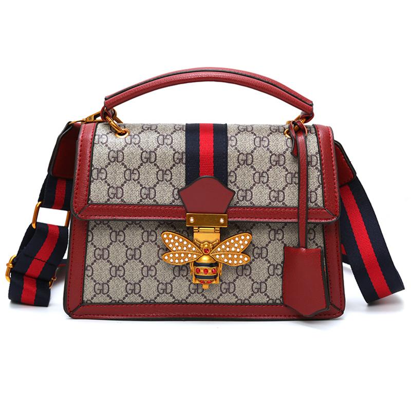 Lovely Elegant Patchwork Printed Red PU Messenger Bag
