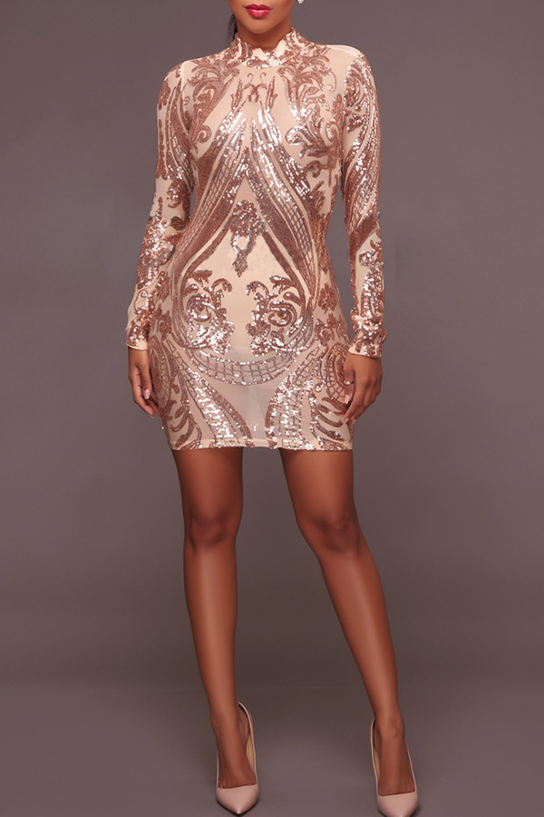 Lovely Elegant Sequined Decorative Apricot Blending Mini Dress