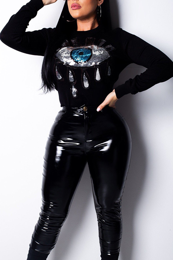 Lovely Trendy Sequined Decorative Black T-shirt