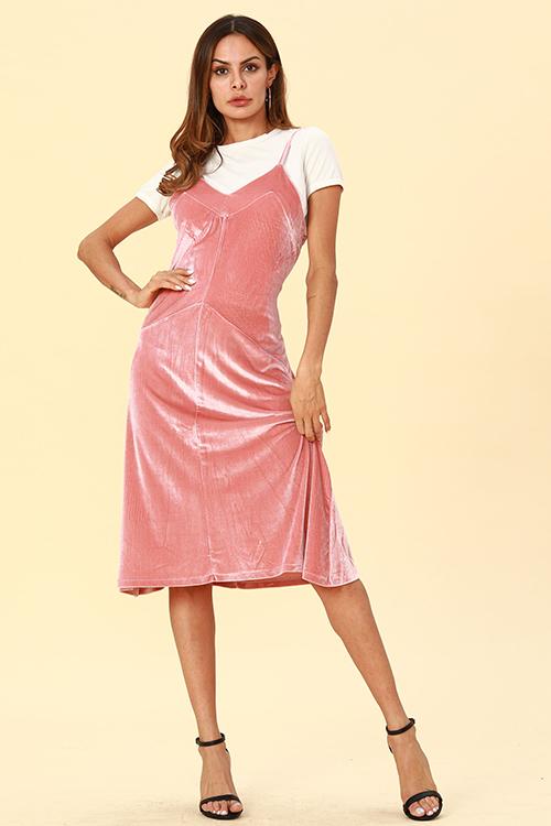Lovely Casual Sleeveless Pink Pleuche Mid Calf Dress
