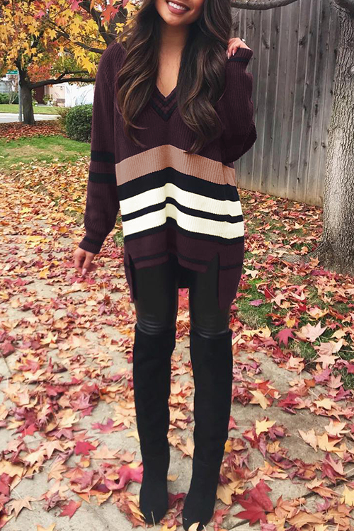 Lovely Striped Wine Red Sweaters=