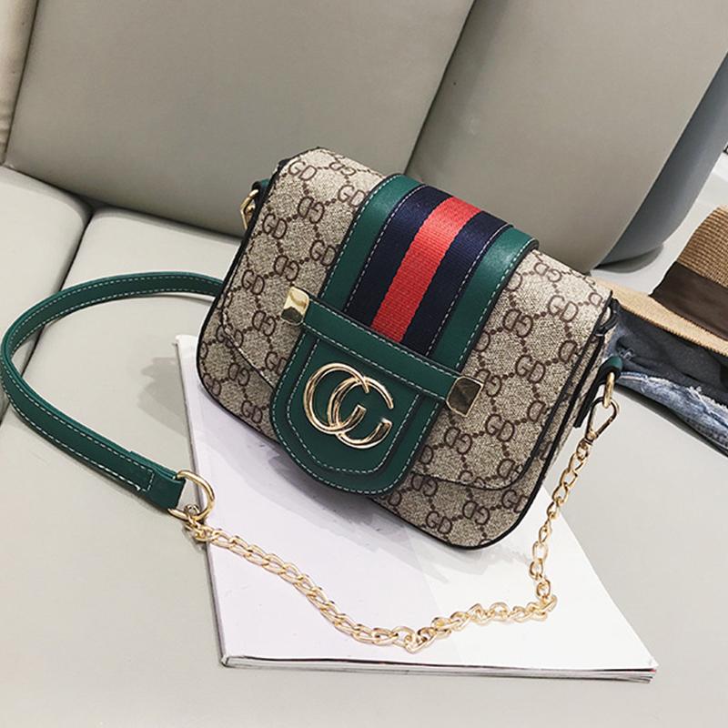 Lovely Trendy Letters Printed Green Messenger Bag