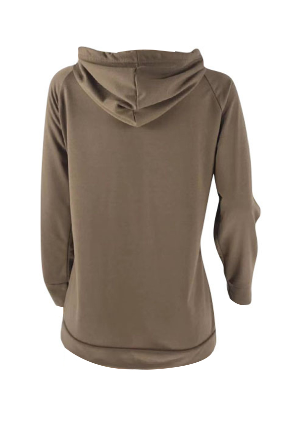 Lovely Casual Printed Deep Coffee Cotton Blends Hoodies