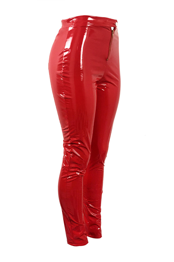 Lovely Fashion Zipper Red PU Skinny Pants