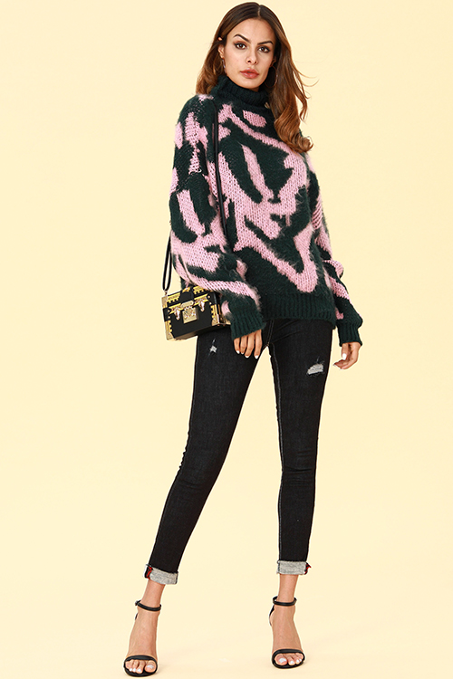 Lovely Chic Color-lump Pink Sweaters