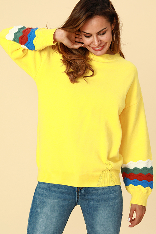 Lovely Chic Patchwork Loose Yellow Cotton Sweaters