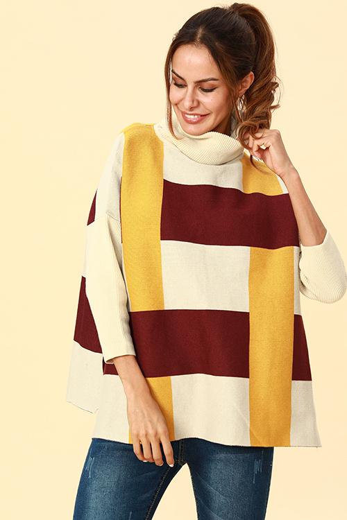 Lovely Chic Turtleneck Slit Yellow Acrylic Sweaters