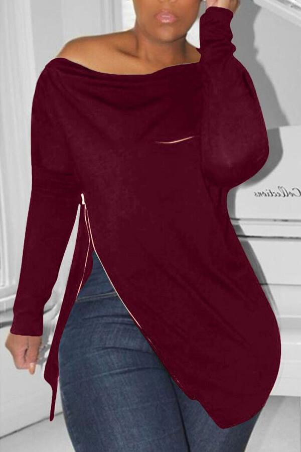 Lovely Casual Irregular Zipper Wine Red Hoodie