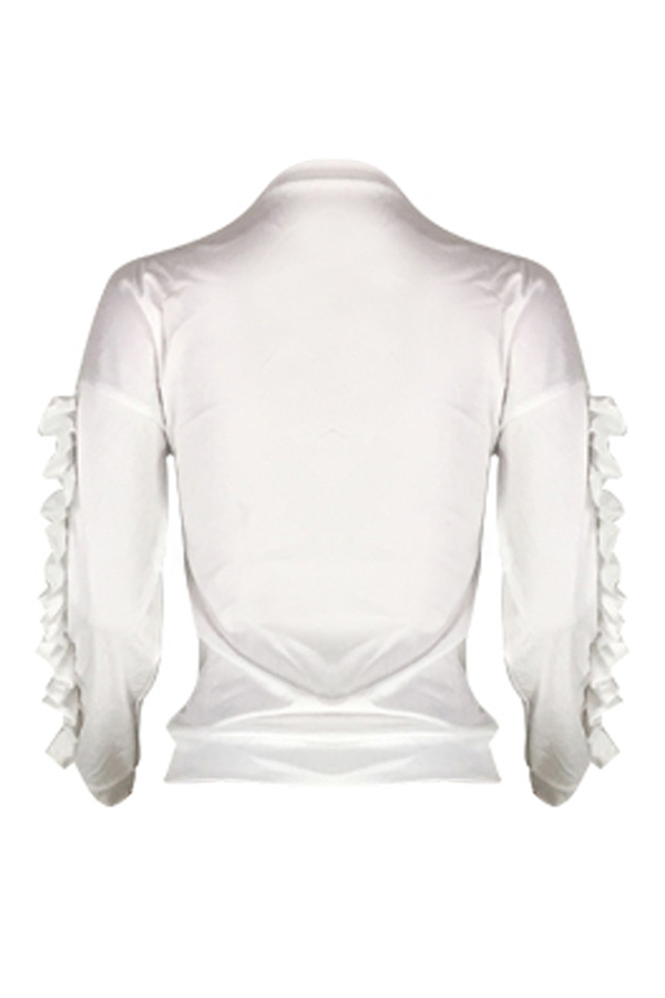 Lovely Casual Flounce Design White Twilled Satin Hoodies