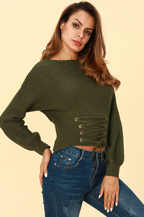 Lovely Trendy Lace-up Army Green Sweaters