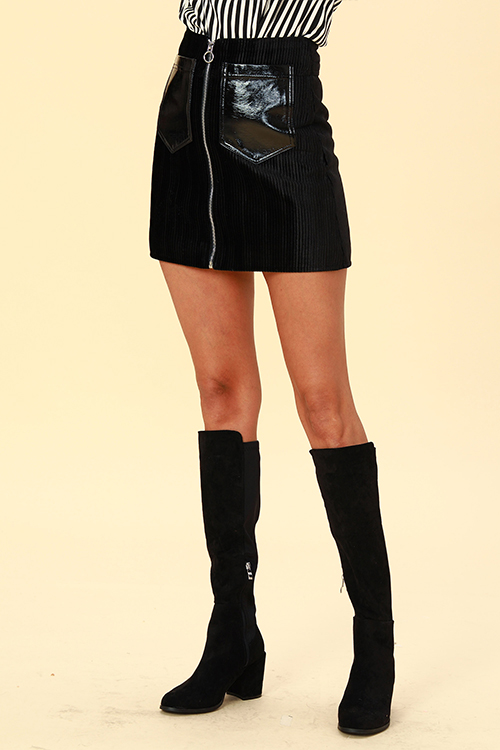 Lovely Chic Zipper Design Black  Mini Skirts