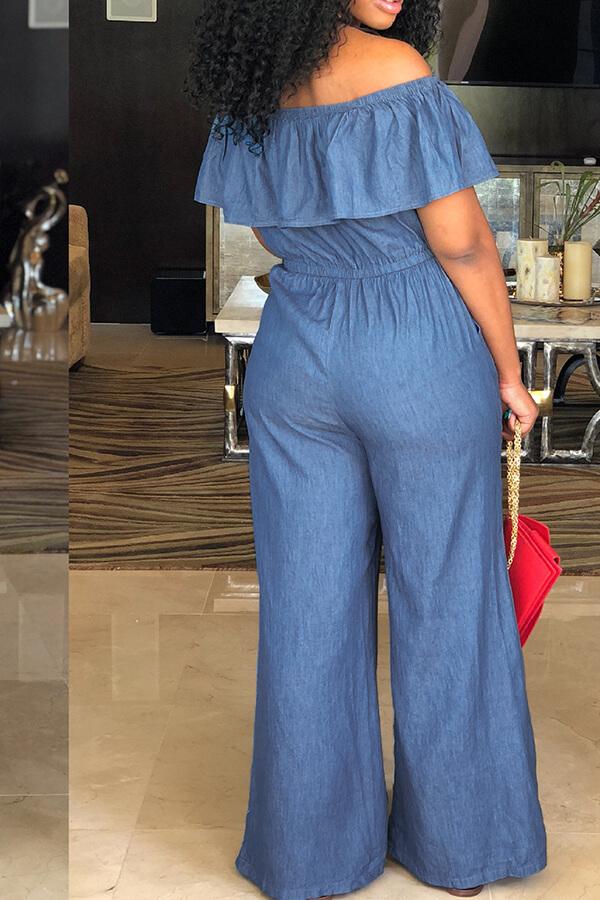 Lovely Casual Bateau Neck Flounce Blue Denim One-piece Jumpsuits
