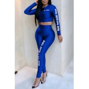 Lovely Casual Letters Printed Royalblue Polyester Two-piece Pants Set