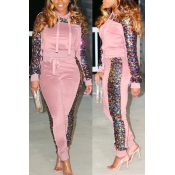 Lovely Casual Sequined Decorative hooded Light Pink  Two-piece Pants Set
