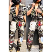 Lovely Euramerican Patchwork Camouflage Printed Grey One-piece Jumpsuit