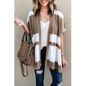 Lovely Casual Grids Printed Light Tan Cardigan Swe