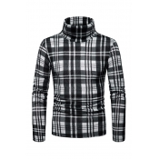 Lovely Fashionable Plaids Long Sleeves Black Sweat