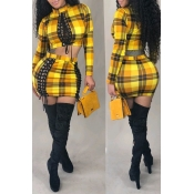 Lovely Sexy Plaid Printed Yellow Knitting Two-piec