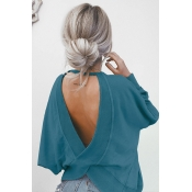 Lovely Fashion Round Neck Back Hollow-out Blue Kni