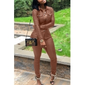 Lovely Casual Buttons Decorative Coffee PU Two-piece Pants Set
