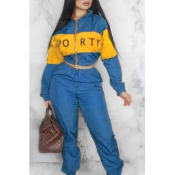 Lovely Trendy Patchwork Blue Two-piece Pants Set