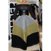Reizende Beiläufige Mehrfarbige Bodenlange Röcke Mit Patchwork