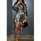 Lovely Euramerican Lantern Sleeves Silver Mini Dress