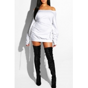 Lovely Casual Long Sleeves Lace-Up White Mini Dres