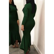 Lovely Casual Long Sleeves Green Ankle Length Dress