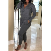 Lovely Casual Long Sleeves Grey Knitting One-piece
