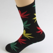 Lovely Casual Maple Leaf Pattern Black Socks