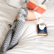 Lovely Fashionable Christmas Snowflake Grey Socks